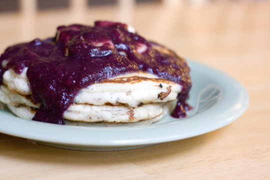 Banana pancakes with blueberry pear sauce