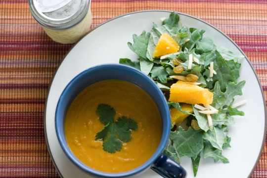 Carrot Apple Soup and Kale Orange Salad with Orange Vinaigrette